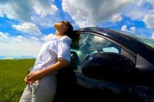 Girl with tint on car